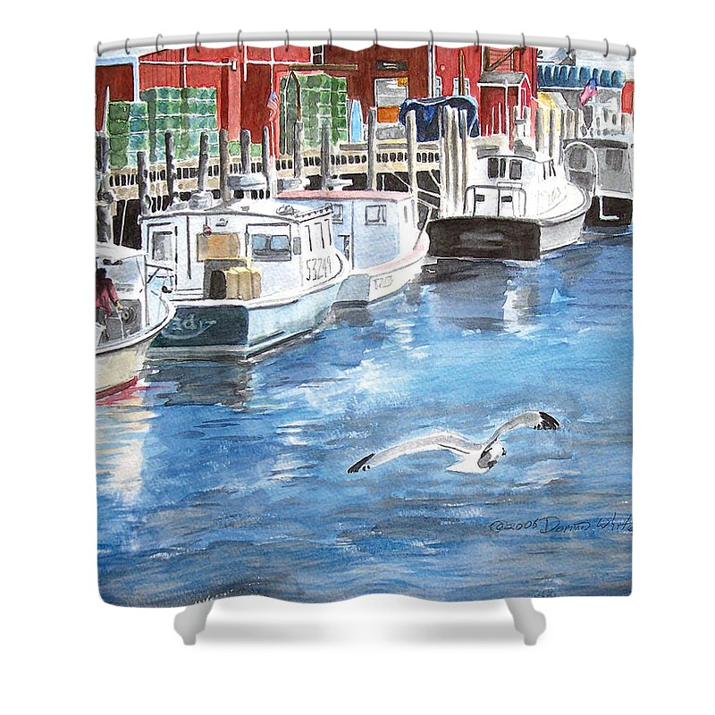Seagull Shower Curtain featuring the painting Union Wharf by Dominic White