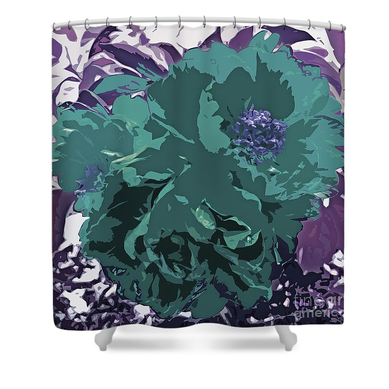 Unique Trio Of Flowers Abstract In Purple And Teal Blue