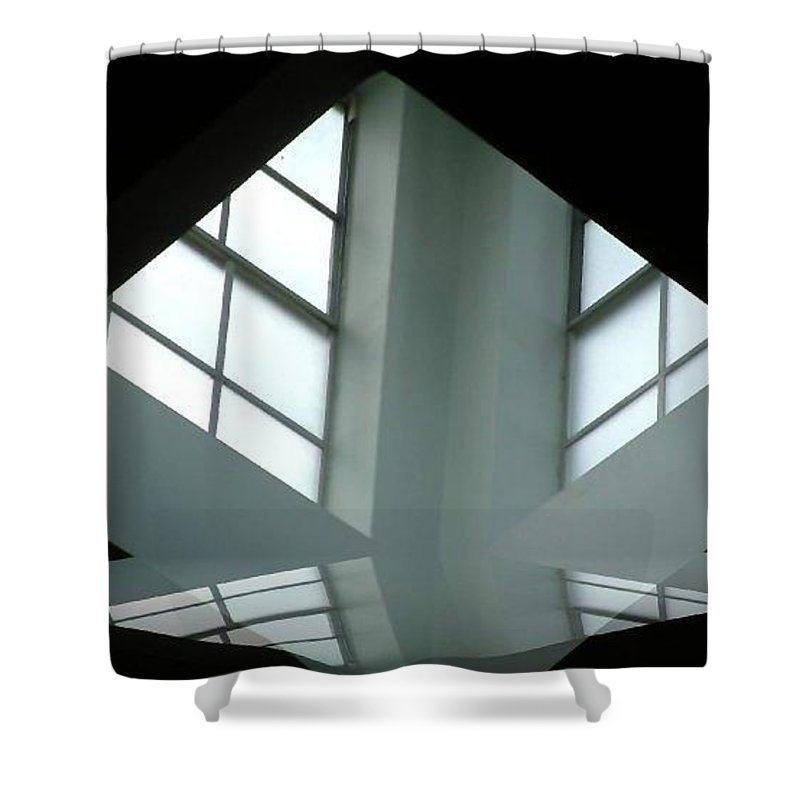 Window Shower Curtain featuring the digital art Unitarian Reflections by Amber Stubbs