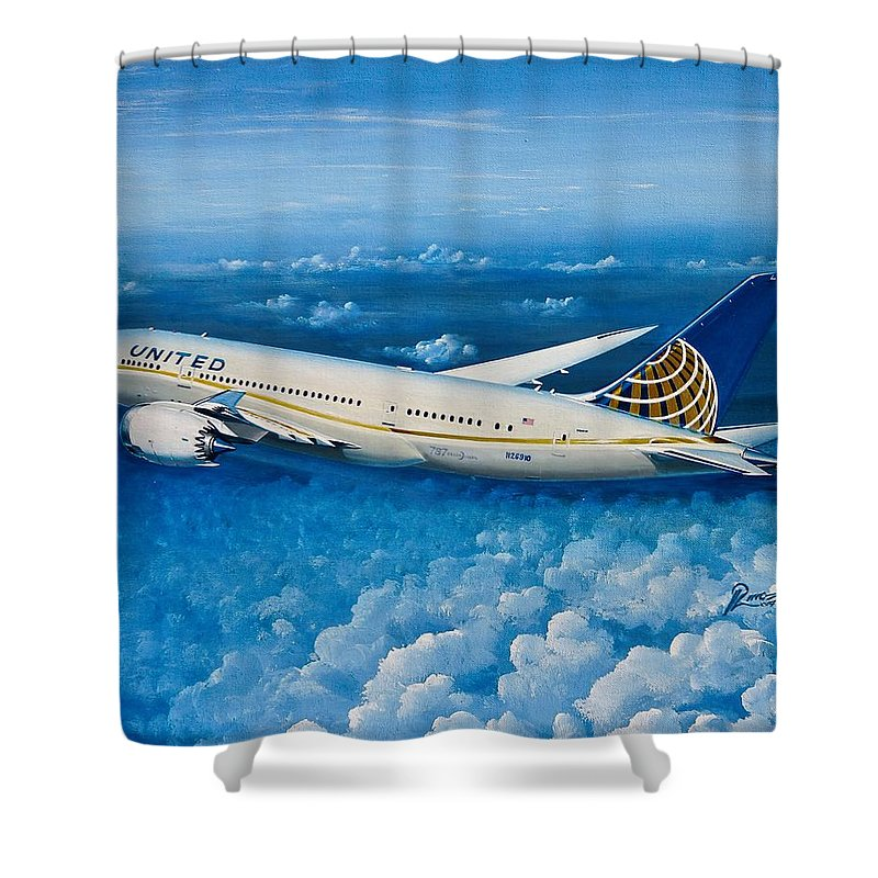 Boeing Shower Curtain featuring the painting United 787-8 N26910 by Peter Ring Sr