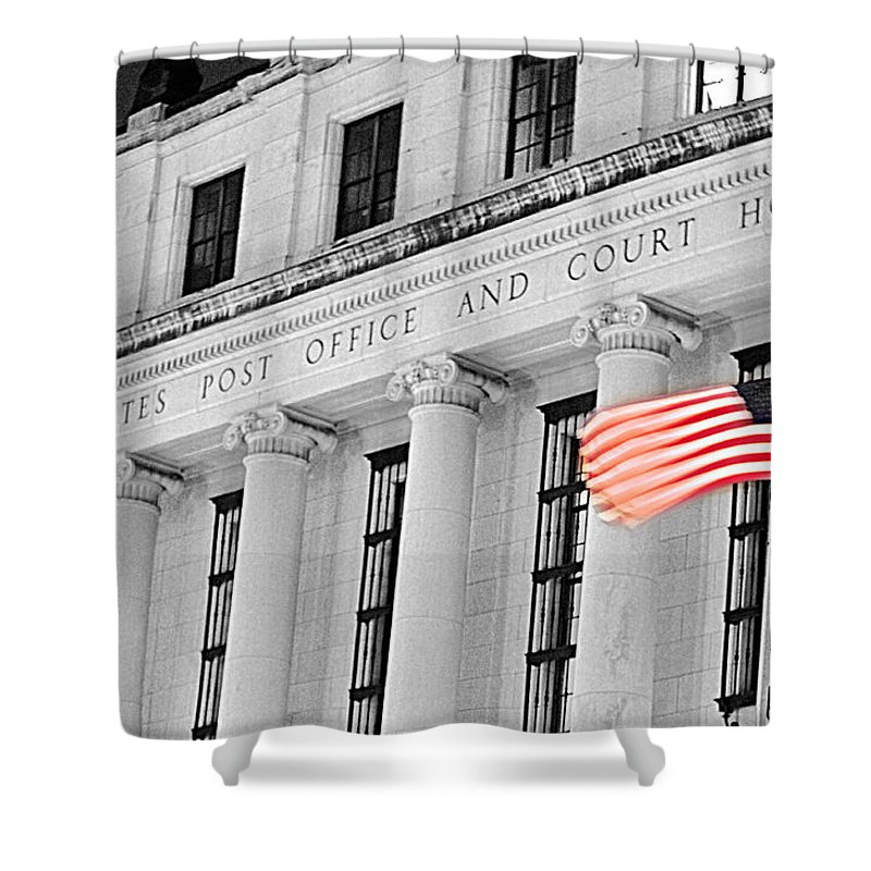 Architecture Shower Curtain featuring the photograph United States Flag by Jill Reger