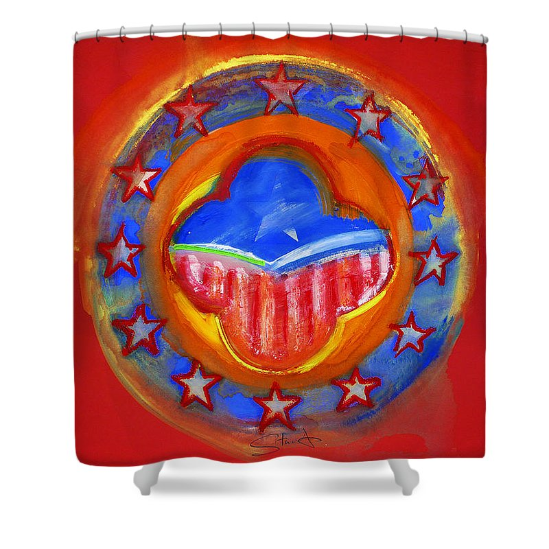 Symbol Shower Curtain featuring the painting United States Of Europe by Charles Stuart