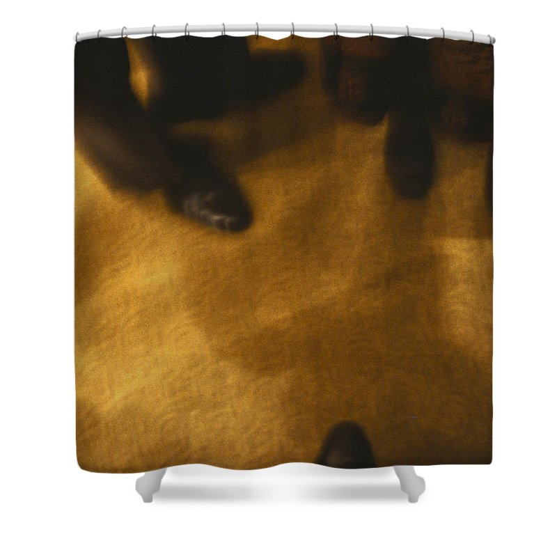 Abstract Shower Curtain featuring the photograph United States People Feet At A Party by Keenpress