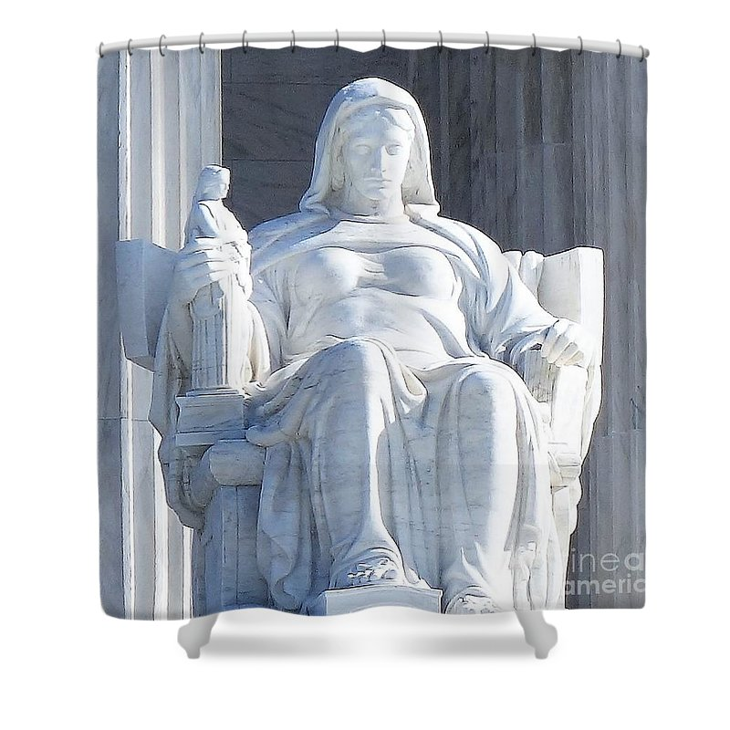 United States Supreme Court Shower Curtain featuring the photograph United States Supreme Court, The Contemplation Of Justice Statue, Washington, Dc 2 by Anthony Schafer
