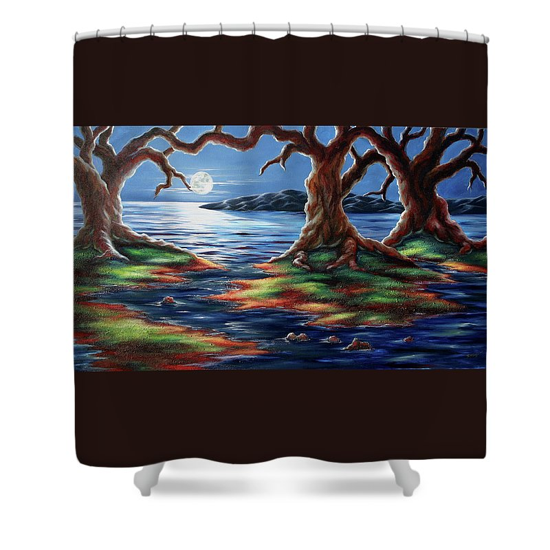 Textured Painting Shower Curtain featuring the painting United Trees by Jennifer McDuffie