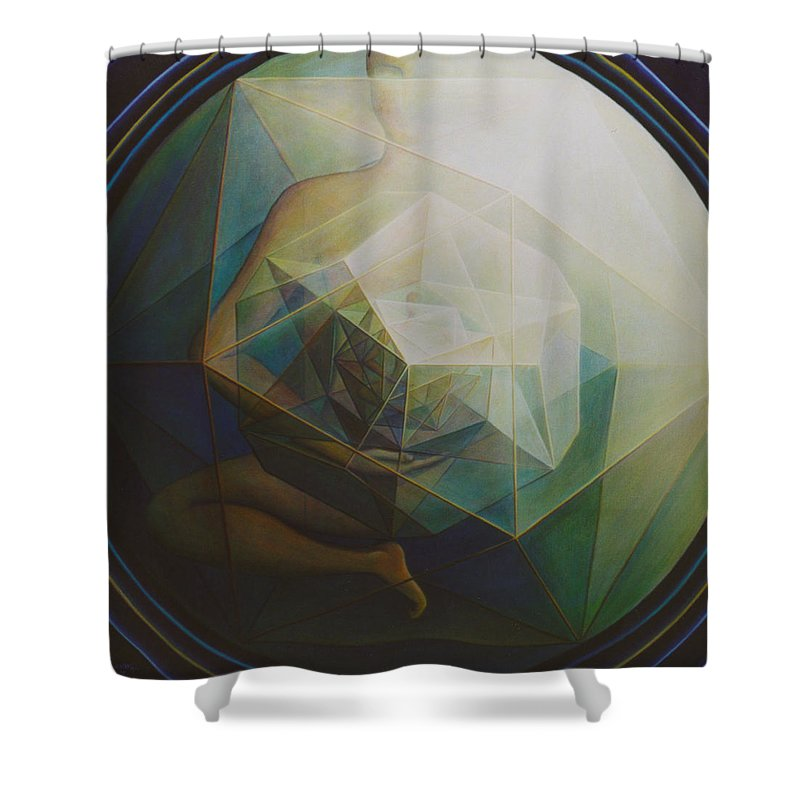 Spiritual Paintings Shower Curtain featuring the painting Universal Map by Nad Wolinska