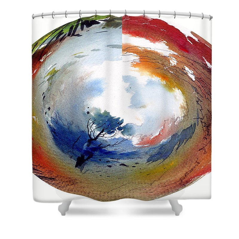 Landscape Water Color Watercolor Digital Mixed Media Shower Curtain featuring the painting Universe by Anil Nene