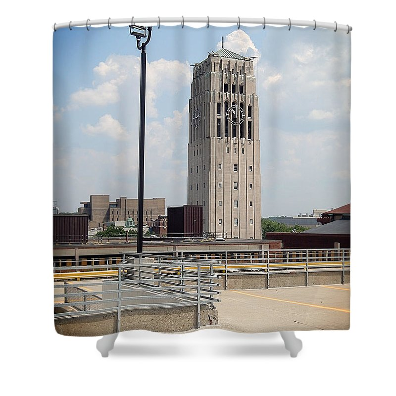 Photography Shower Curtain Featuring The Photograph University Of Michigan Clock Tower By Phil Perkins