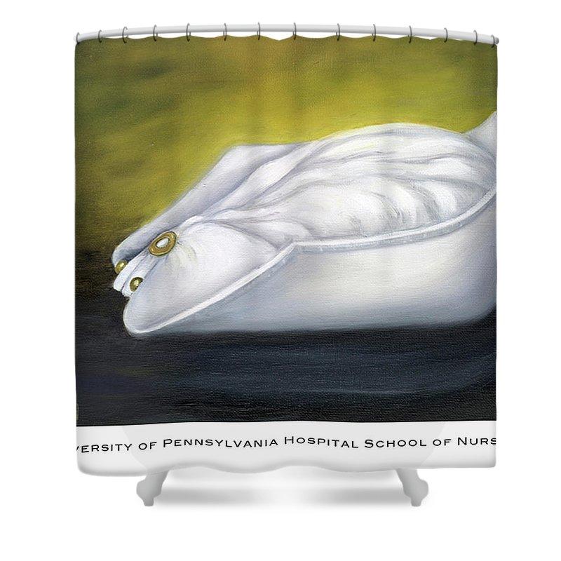 Nurse Shower Curtain featuring the painting University Of Pennsylvania Hospital School Of Nursing by Marlyn Boyd