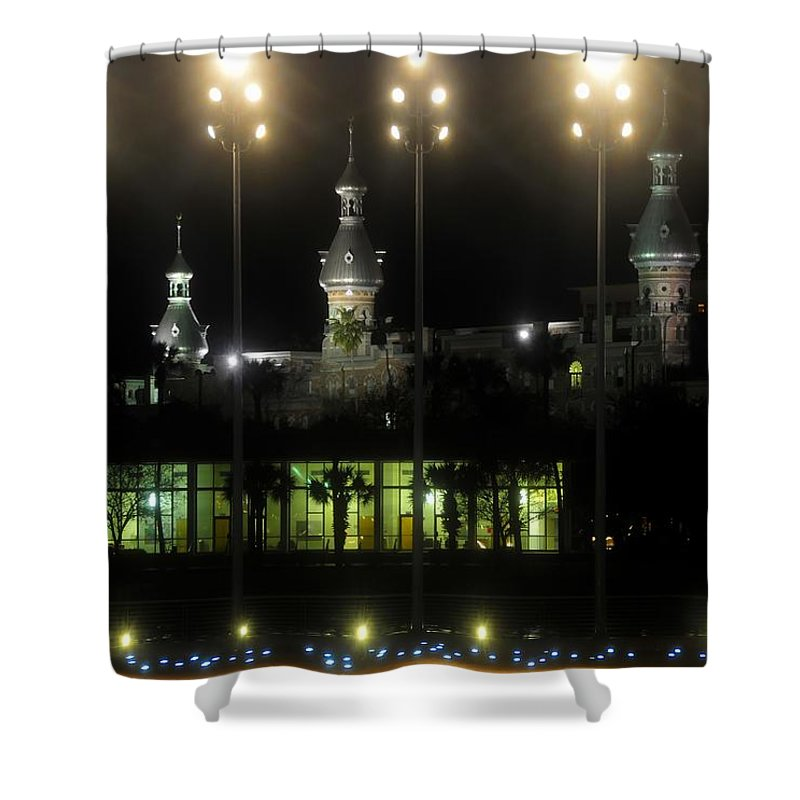 University Of Tampa Shower Curtain featuring the photograph University Of Tampa Lights by David Lee Thompson