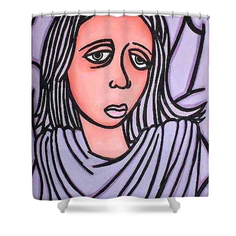 Portrait Shower Curtain featuring the painting Unknown by Thomas Valentine