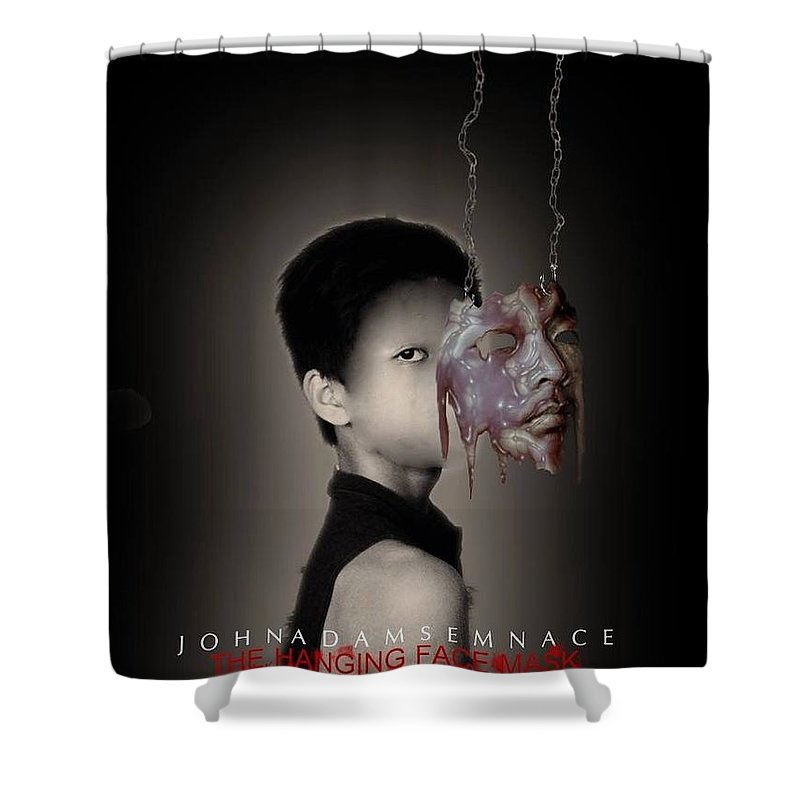 Darkart Shower Curtain featuring the digital art Unmasked by John Adams Emnace