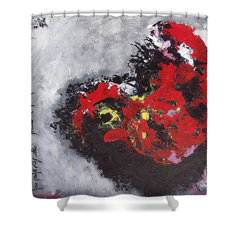 Poetry Paintings Shower Curtain featuring the painting Unread Poem Black And Red Paintings by Seon-Jeong Kim