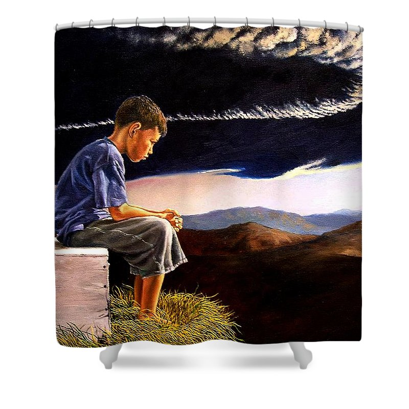 Mountain Shower Curtain featuring the painting Unscarred Mountain by Christopher Shellhammer