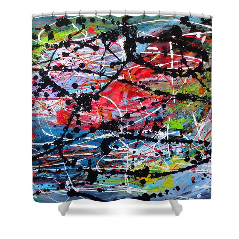 Red Shower Curtain featuring the painting Unseen 2 Of 2 by Dane Newton