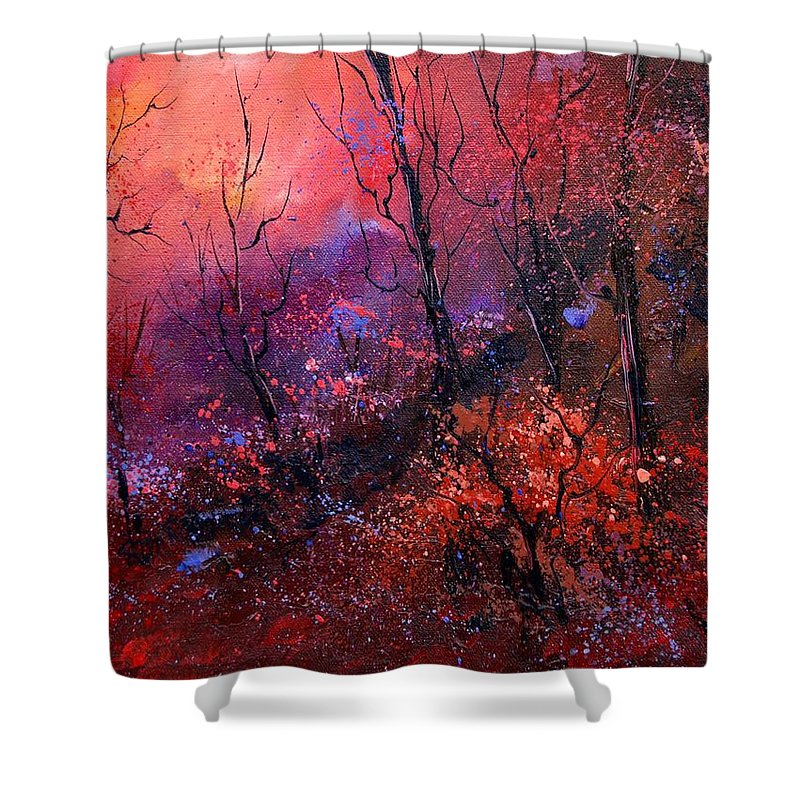 Wood Sunset Tree Shower Curtain featuring the painting Unset In The Wood by Pol Ledent