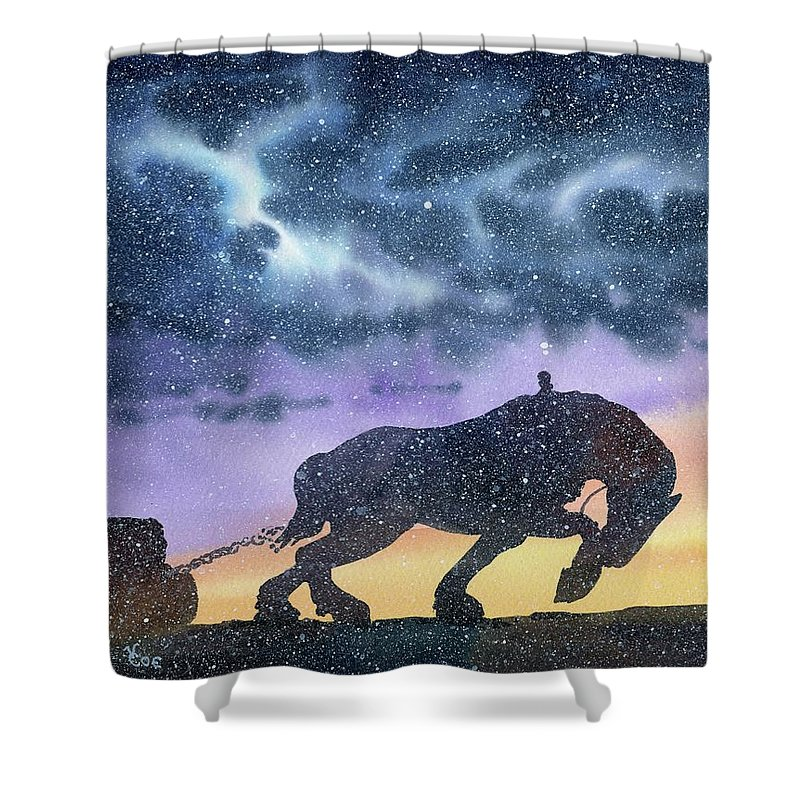 Horse Shower Curtain featuring the painting Unstoppable by Valerie Coe