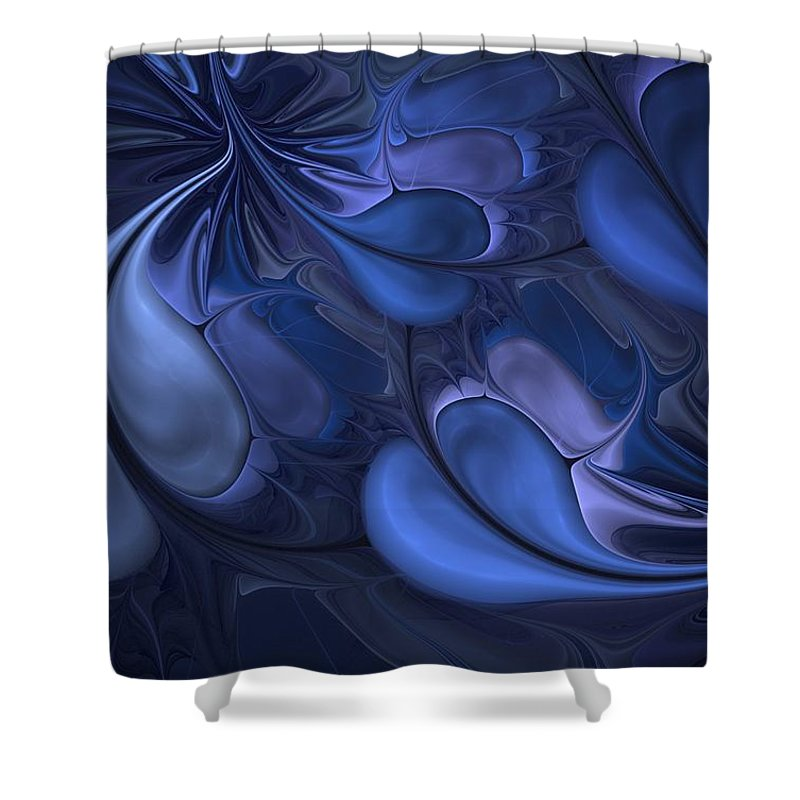 Digital Painting Shower Curtain featuring the digital art Untitled 01-26-10 Blues by David Lane