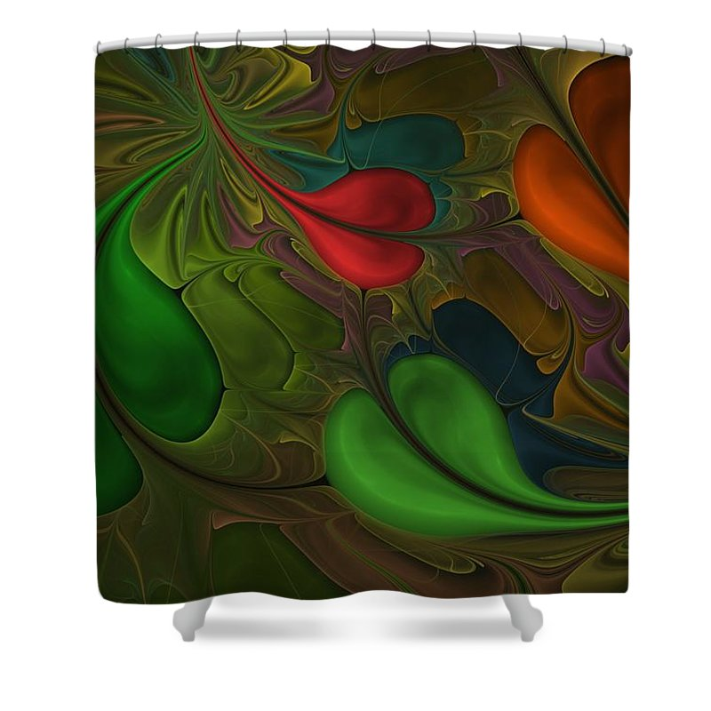 Digital Painting Shower Curtain featuring the digital art Untitled 1-26-10 Orang And Green by David Lane