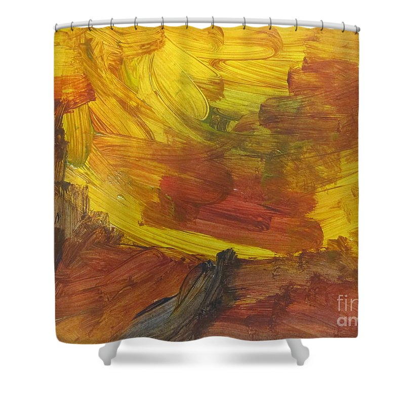 Art Shower Curtain featuring the mixed media Untitled 117 Original Painting by Iyanuolowa Adeshina