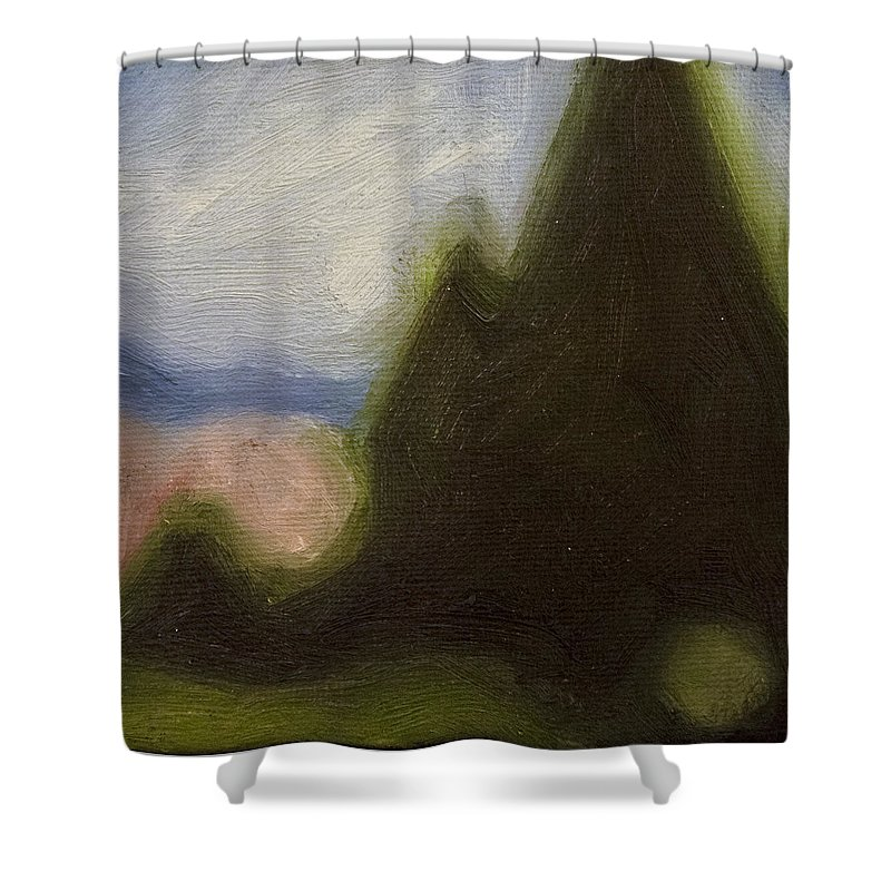 Impressionist Landscape Shower Curtain featuring the painting Untitled 6 by Charlie Roberts