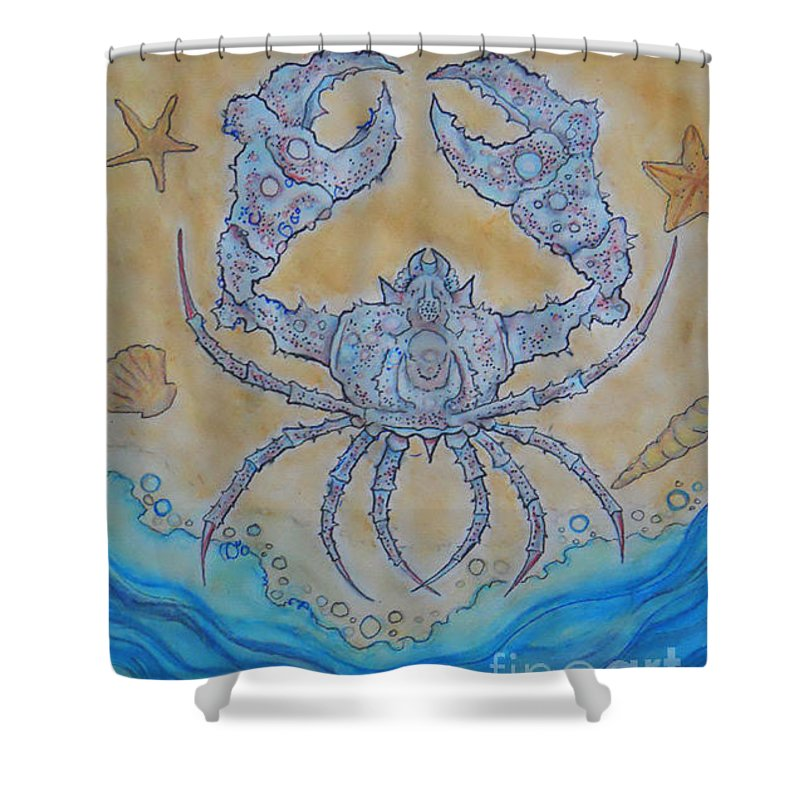 Shower Curtain featuring the drawing untitled Crab by Ben UNDERWOOD