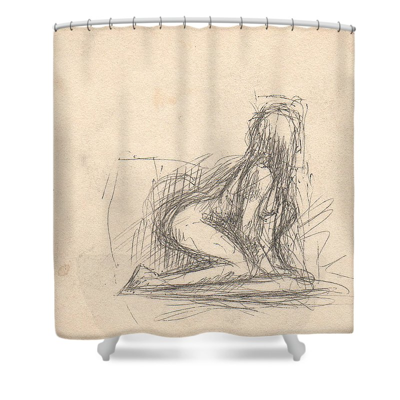 Small Shower Curtain featuring the drawing Untitled Figure by T Ezell