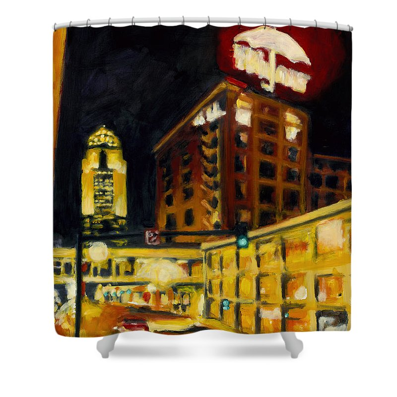 Rob Reeves Shower Curtain featuring the painting Untitled In Red And Gold by Robert Reeves