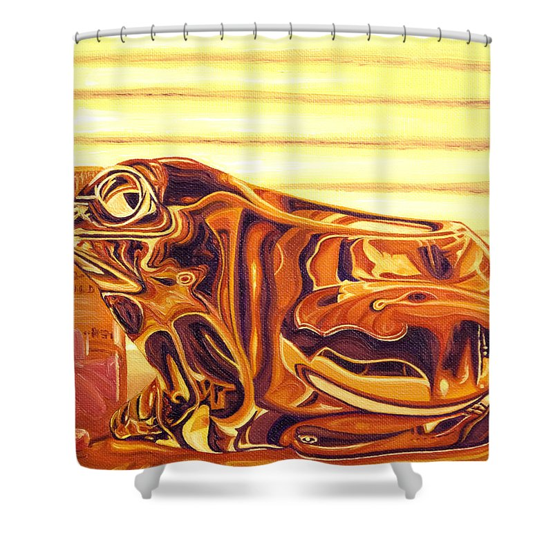 Frog Shower Curtain featuring the painting Untitled by Judy Henninger