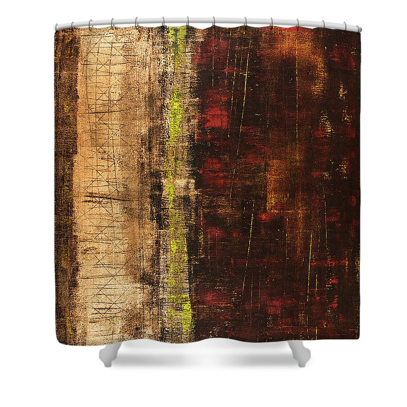 Red Shower Curtain featuring the painting Untitled No. 13 by Julie Niemela