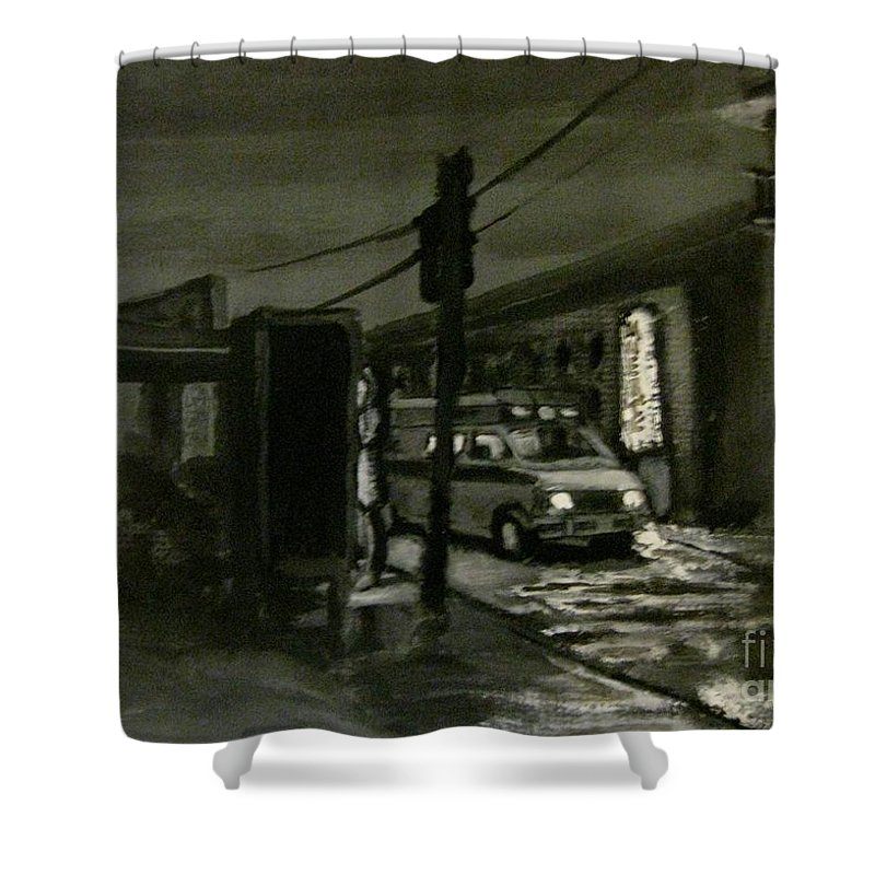 Moody Shower Curtain featuring the painting Untitled Number One by John Malone