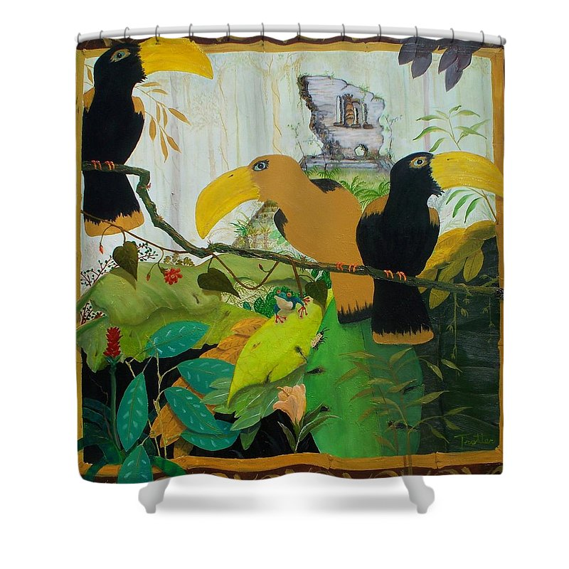 Jungle Shower Curtain featuring the painting Jungle Boogie 2 by Patrick Trotter