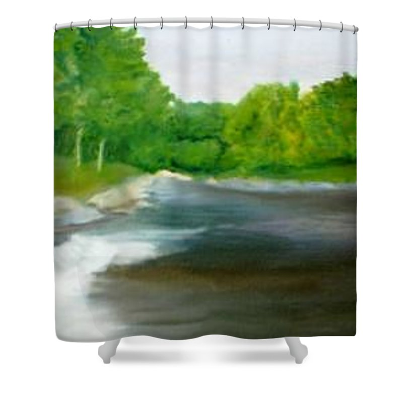 River Shower Curtain featuring the painting Untitled Plein Aire by Sheila Mashaw
