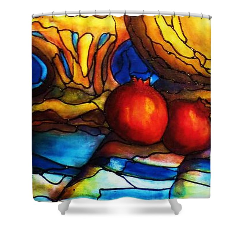Original Art Shower Curtain featuring the painting Still Life With Grapes And Pomegranates by Rae Chichilnitsky