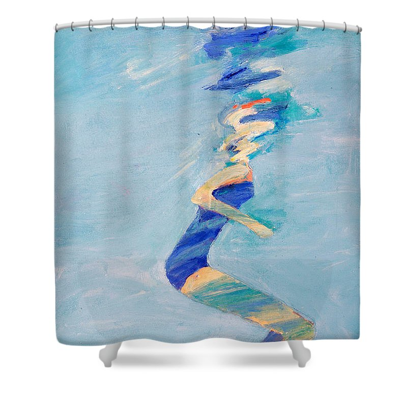 Water Shower Curtain featuring the painting Untitled Swimmer by Lisa Baack