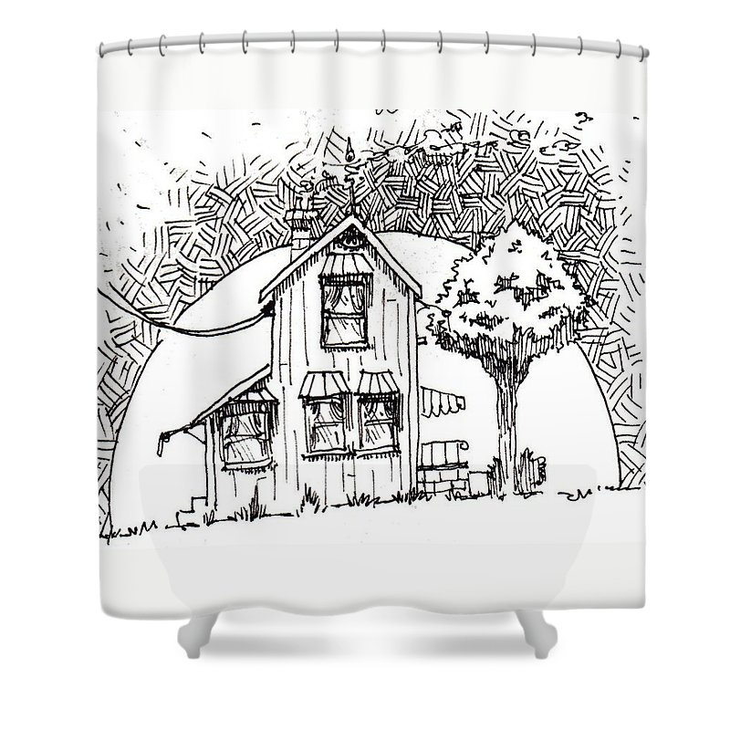 House Shower Curtain featuring the drawing Untitled by Tobey Anderson