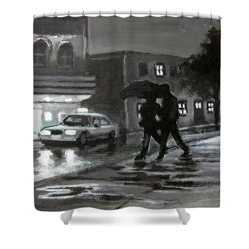 Street Scenes At Night Shower Curtain featuring the painting Untitled Two by John Malone