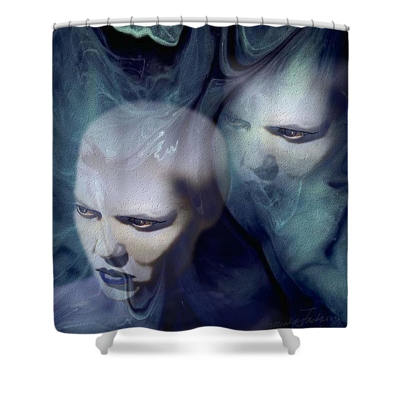 Dream Afterlife Experience Blue Smoke Shower Curtain featuring the digital art Untitled by Veronica Jackson