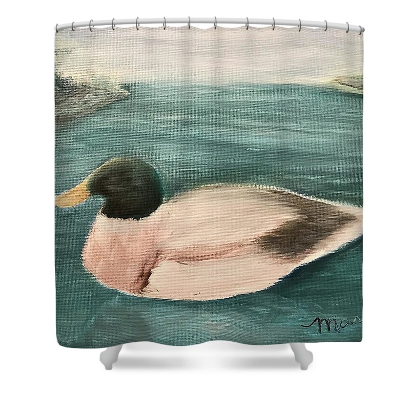Shower Curtain featuring the painting Quack, Quack by Sheila Mashaw