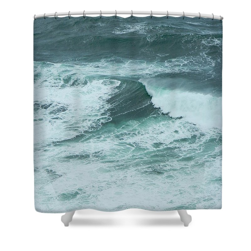 Oregon Shower Curtain featuring the photograph Unusual Green Wave Vertical by Gallery Of Hope