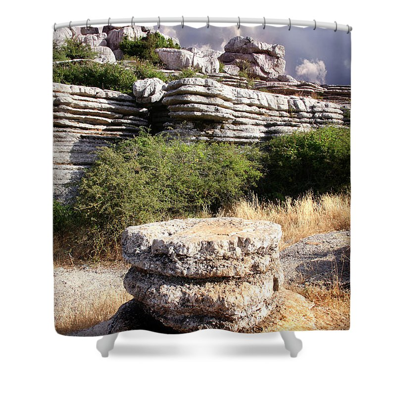 Limestone Shower Curtain featuring the photograph Unusual Rock Formations In The El Torcal Mountains Near Antequera Spain by Mal Bray