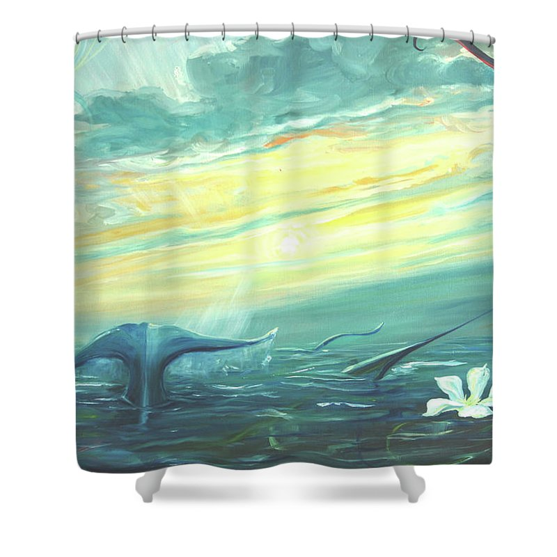 Whale Fluke Shower Curtain featuring the painting Unveiling The Daystar by Jennifer Christenson