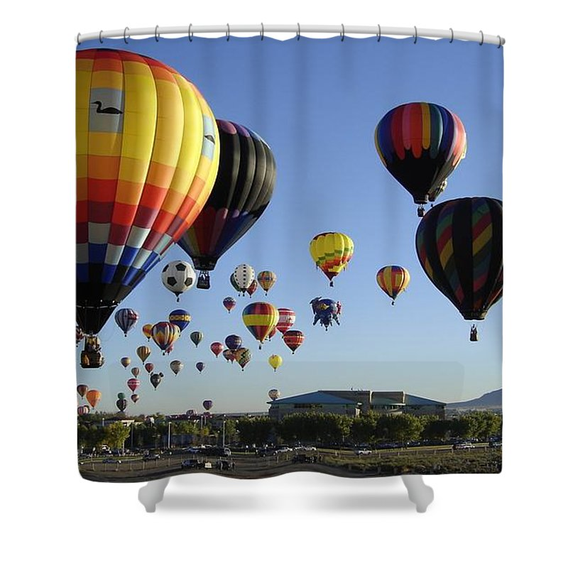 Balloons Shower Curtain featuring the photograph Up And Away by Mary Rogers
