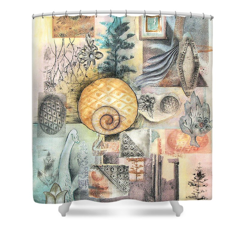Abstract Shower Curtain featuring the mixed media Up And Away by Valerie Meotti