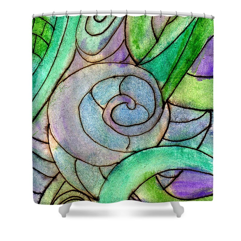 Abstract Shower Curtain featuring the painting Up Close In The Garden by Wayne Potrafka