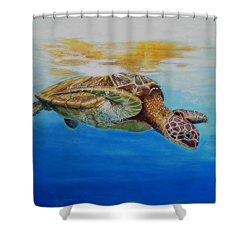 Wildlife Shower Curtain featuring the painting Up For Some Rays by Ceci Watson