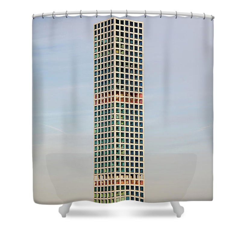 Skyscraper Shower Curtain featuring the photograph Up In The Air by Jordan Hogenson