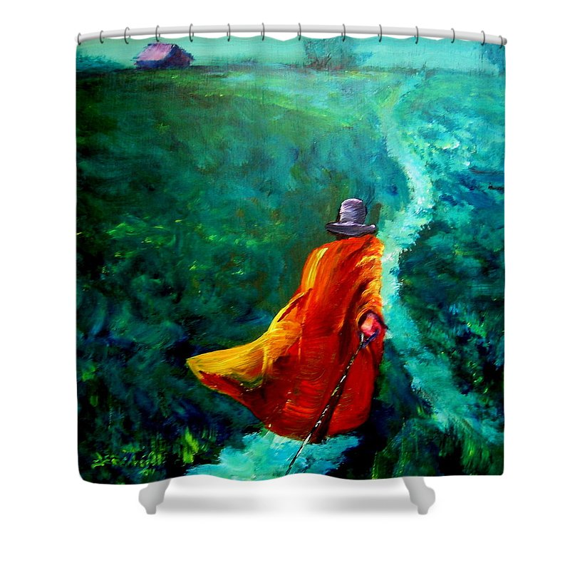 Expressionist Shower Curtain featuring the painting Up That Hill by Jason Reinhardt