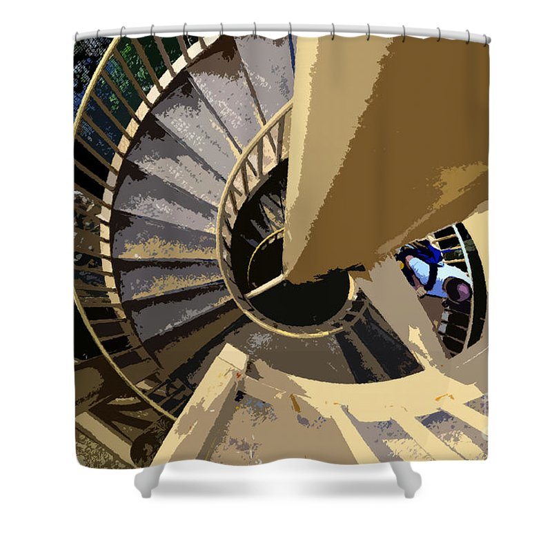 Spiral Staircase Shower Curtain featuring the painting Up The Spiral Staircase by David Lee Thompson