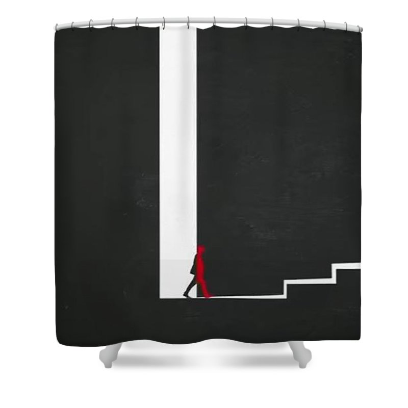 Afraid To Enter Shower Curtain featuring the painting Up To by Archangelus Gallery